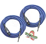 Speakon to 1/4' Male Cables (2 Pack) by FAT TOAD | 25 ft Professional Pro Audio Blue DJ Speaker PA...
