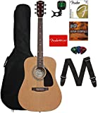 Fender FA-115 Dreadnought Acoustic Guitar - Natural Bundle with Gig Bag, Tuner, Strings, Strap,...