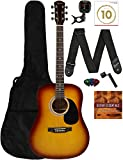 Fender Squier Dreadnought Acoustic Guitar - Sunburst Learn-to-Play Bundle with Gig Bag, Tuner,...
