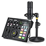 Audio Interface with DJ Mixer and Sound Card, Maonocaster Portable ALL-IN-ONE Podcast Production...