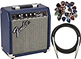 Fender Frontman 10G Electric Guitar Amplifier - Midnight Blue Bundle with 24 Picks and 10-Foot...