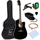 Best Choice Products 41in Full Size Beginner All Wood Cutaway Acoustic Guitar Starter Set with Case,...