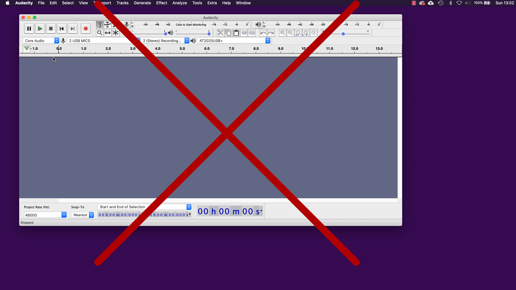 Audacity screenshot - crossed out