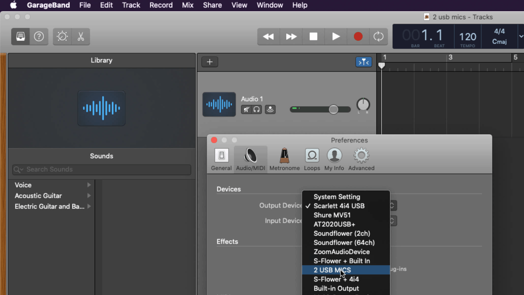 Screenshot of Garageband Preferences