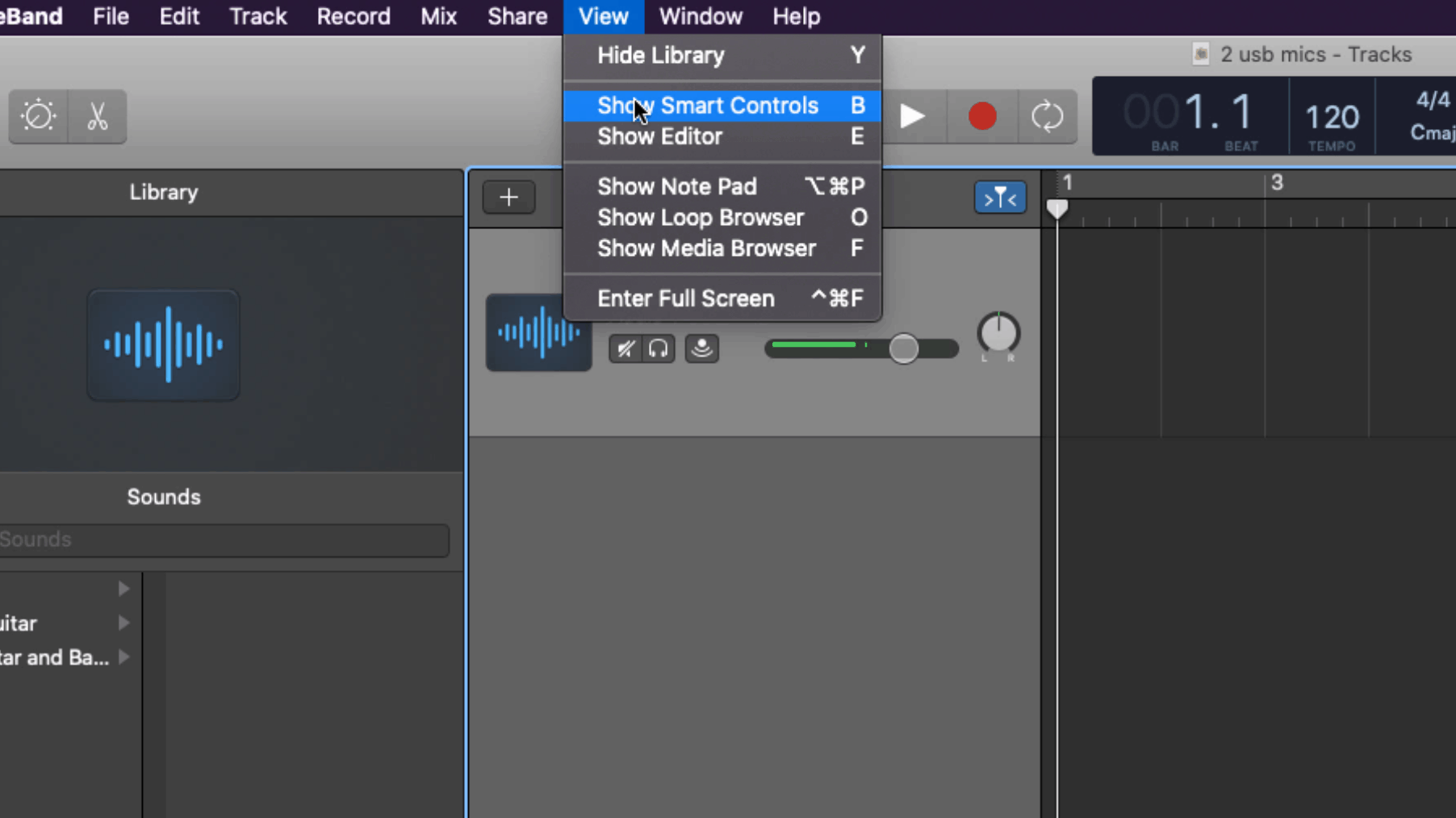 Garageband Smart Controls Screenshot