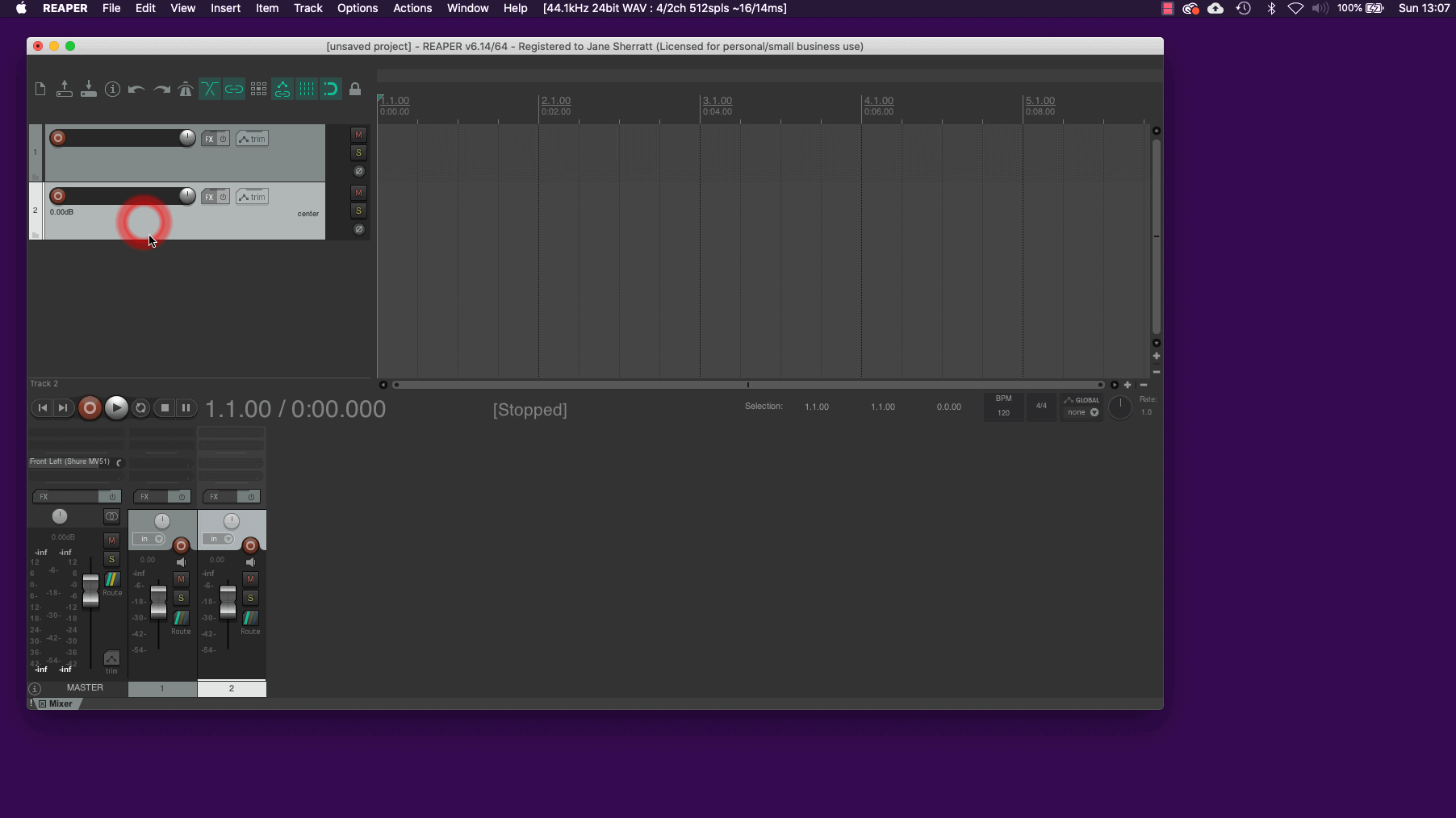 Create Audio Tracks in Reaper - screenshot