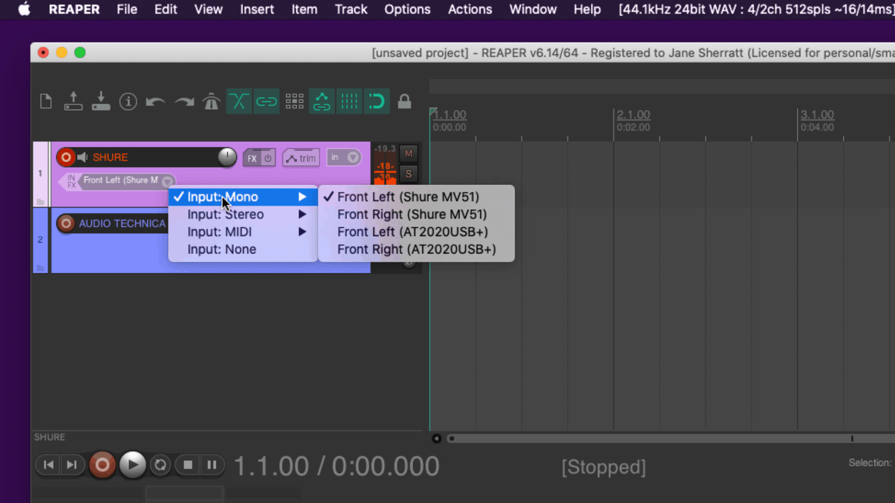 Arm Tracks to Record in Reaper - Screenshot