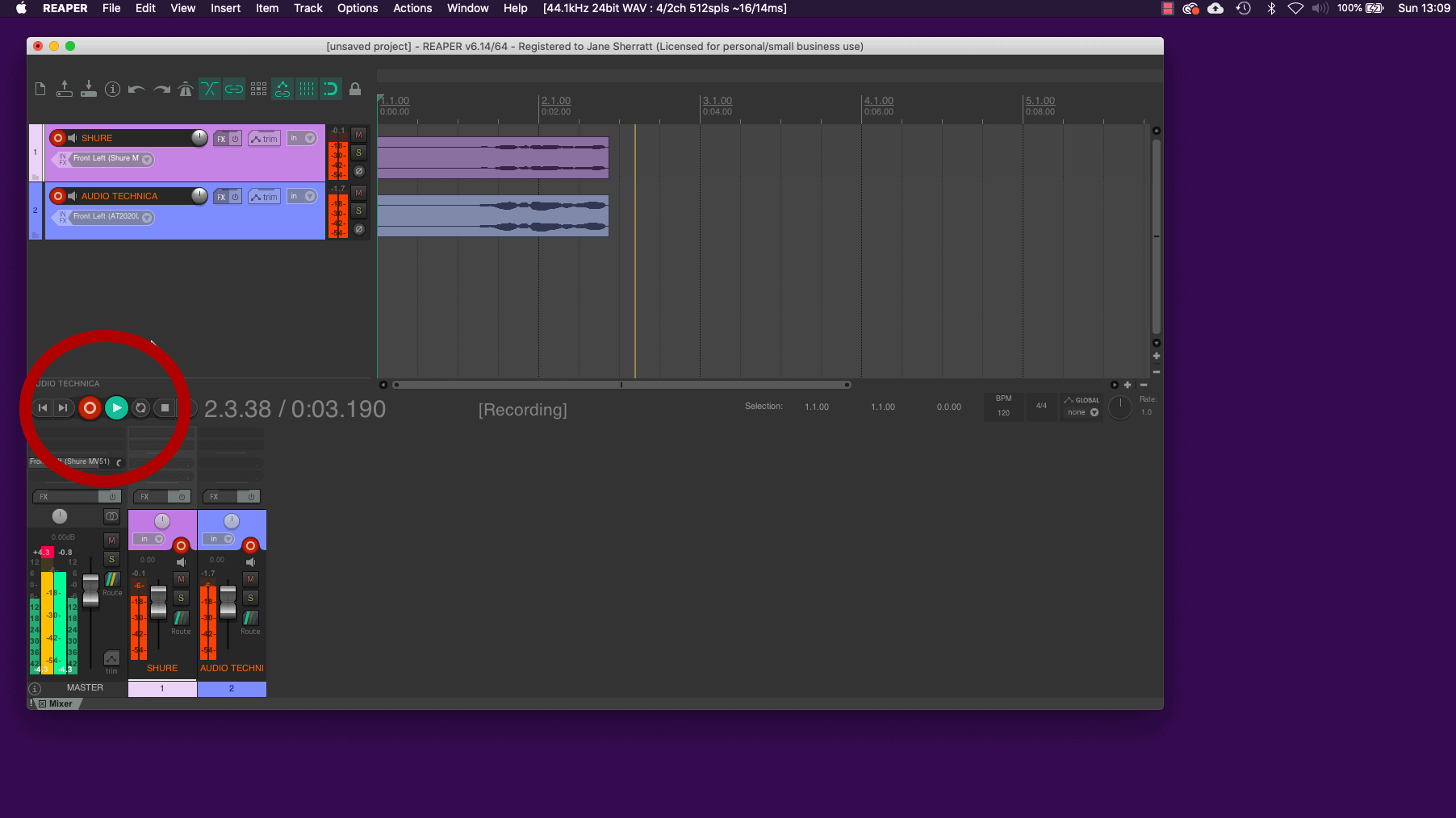 Record Audio in Reaper - Screenshot