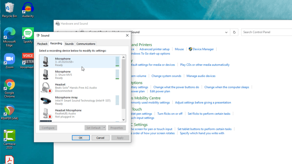 Screenshot of Windows Control Panel - Audio Devices. To record multiple mics they need to be installed correctly