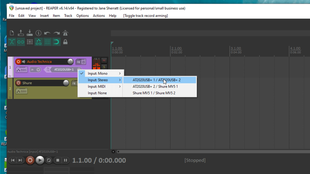 screenshot of Reaper - arm track to record then select USB mic as input
