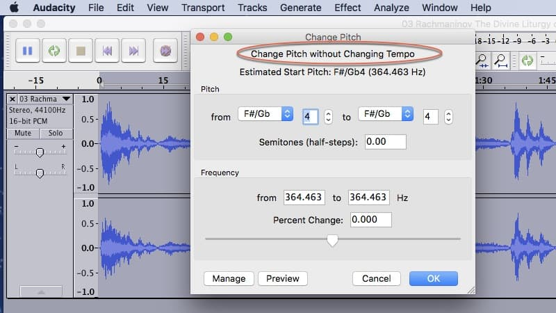 Change Pitch of Audio Track without Changing Tempo