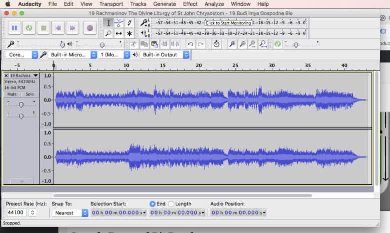 16-bit, 44.1 kHz digital audio waveform in audacity