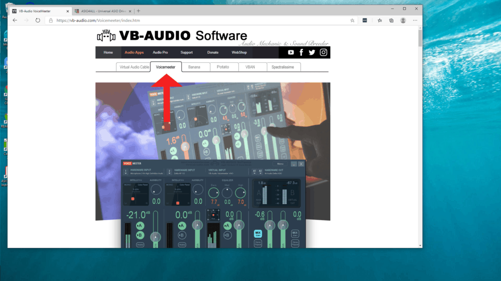 screenshot of VB-Audio Voicemeeter web site