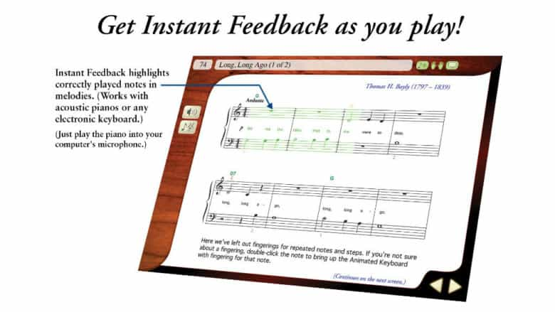 screenshot of instant feedback emedia piano
