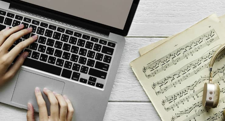 sheet music and computer
