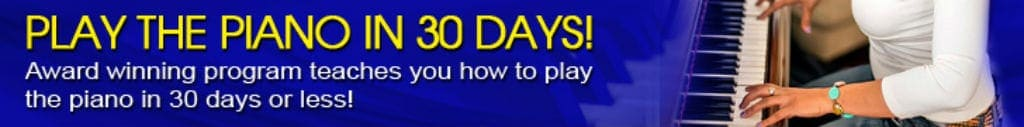 Learn to play the piano in 30 days banner image