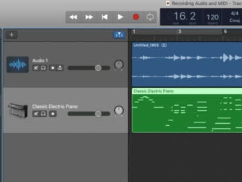 screenshot of audio and midi tracks in garageband