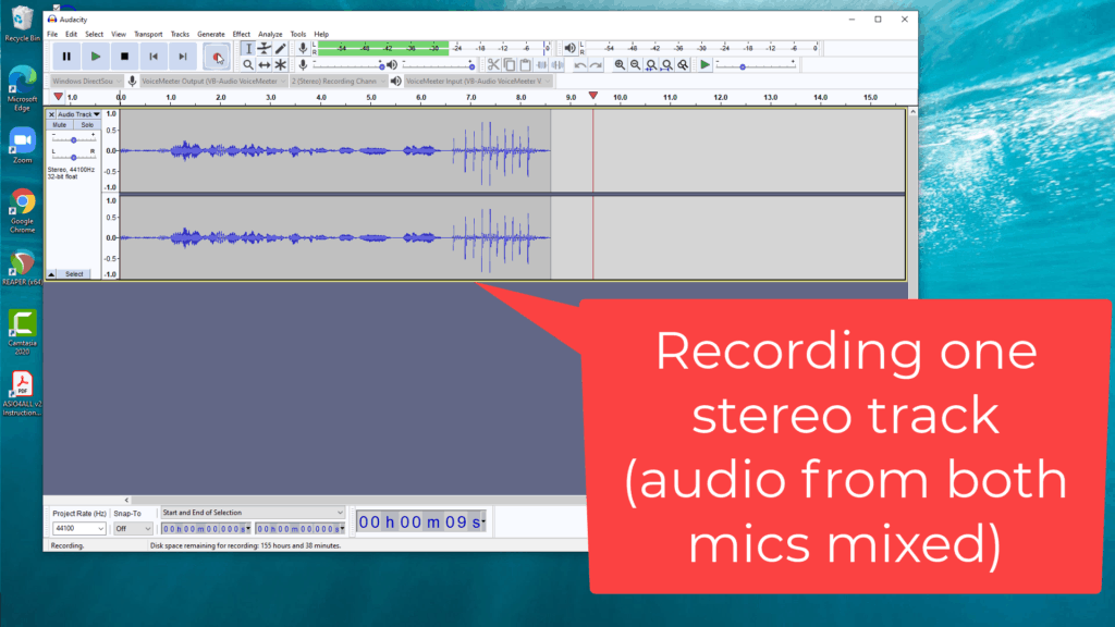 screenshot of Audacity recording 2 USB mics at once on one stereo track