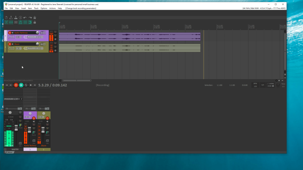 screenshot of Reaper recording multiple tracks with more than one USB mic at the same time.