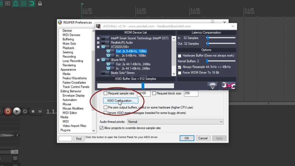 Screenshot: How to select multiple USB Mics to Record in Reaper