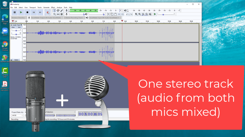 record two USB mics simultaneously in Audacity - image of software and mics