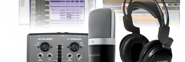 audio interface with microphone and headphones