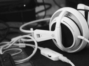 white recording studio headphones